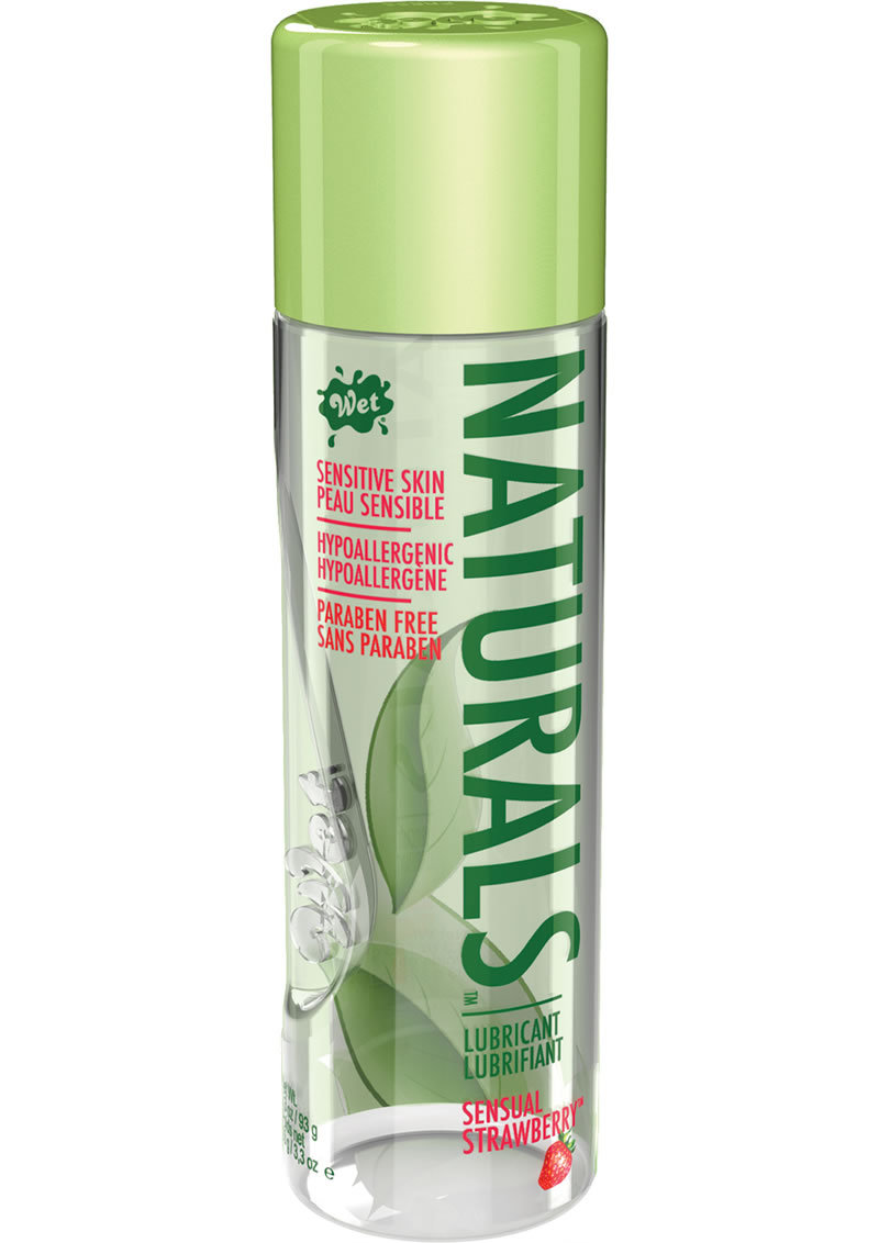 Wet Naturals Flavored Water Based Lubricant Sensual Strawberry Sensitive Skin 3.3 Ounce