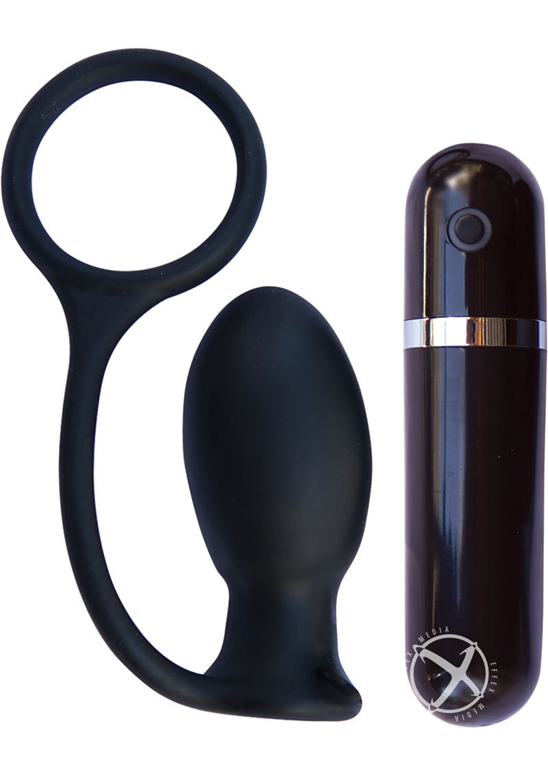 Mach Tuff Vibrating Butt Thriller Wireless Remote Silicone Anal Plug With Cockring Black 3.3 Inch